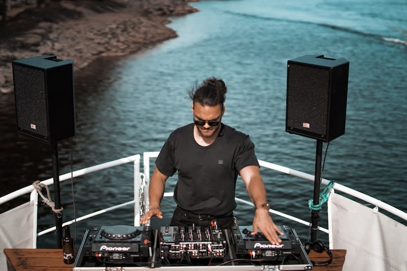 Best Party Island in the World: Ios, Greece. DJ on a boat.