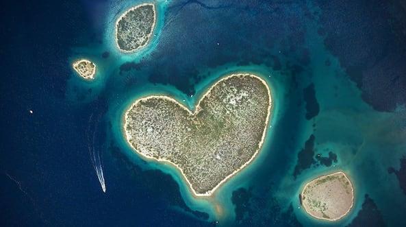 heart island love croatia sea above