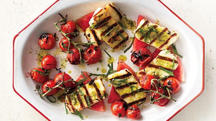 grilled halloumi watermelon mediterranean recipe