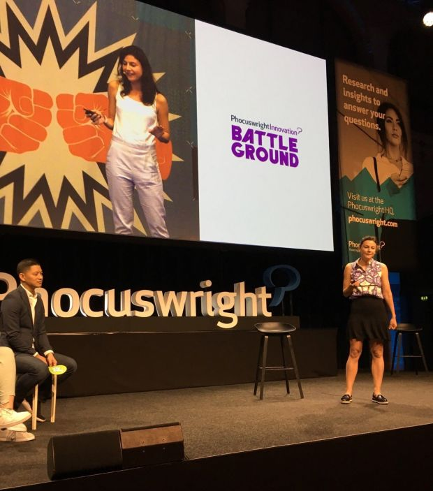 Anna Banicevic on stage at Phocuswright Europe 2019.