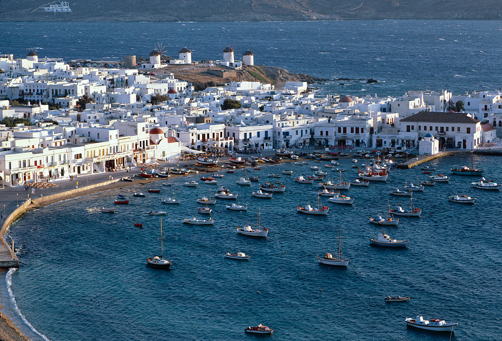 The party island of Mykonos in Greece