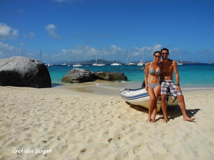 Romantic couple beach sailing holidays