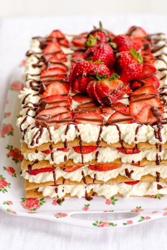 strawberry no-bake cake recipe