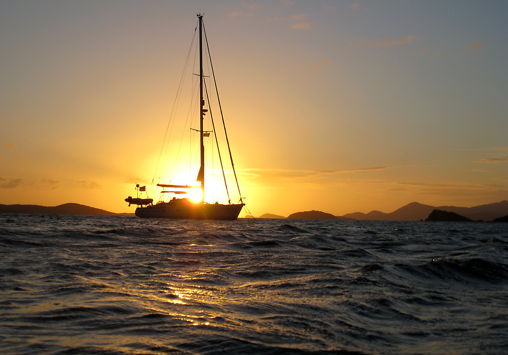 Sunset at Peter Island British Virgin Islands sailing Zizoo
