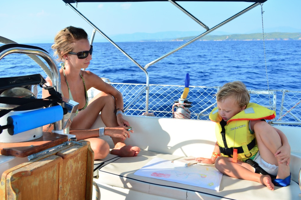 Mother and son sailing together yacht charter Zizoo