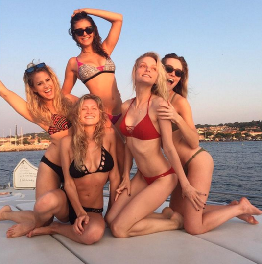 Models on a superyacht