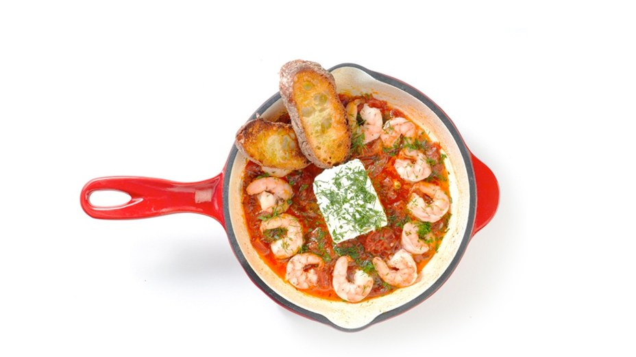 shrimp saganaki greek mediterranean recipe