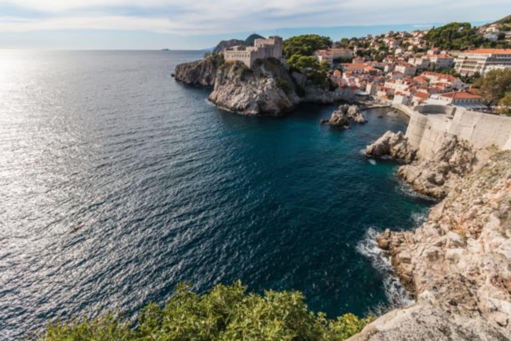 aerial view adriatic dubrovnik croatia