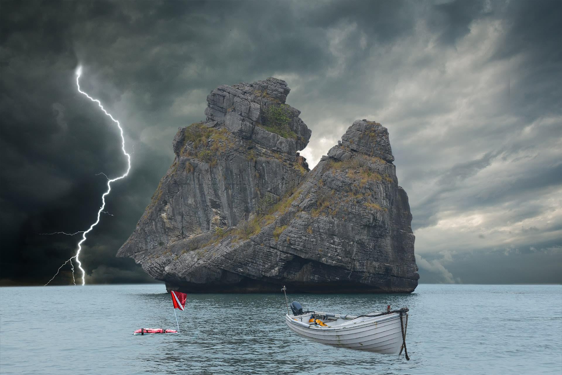storm at sea sailing by boat
