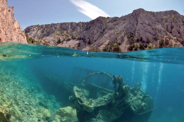 croatia water surface WWll Military shipwreck Zavratnica Bay