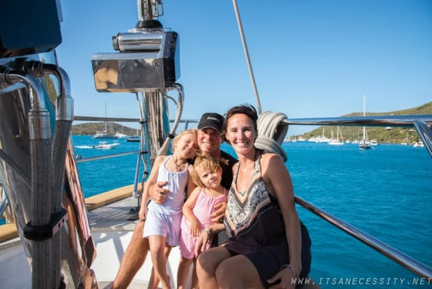 Family on a sailing boat holiday