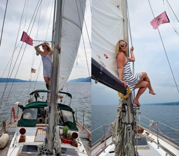 Girl posing on a yacht