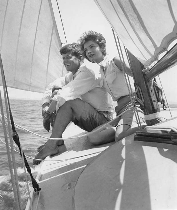 President John F. Kennedy with daughter Caroline on board the Honey Fitz, 1962