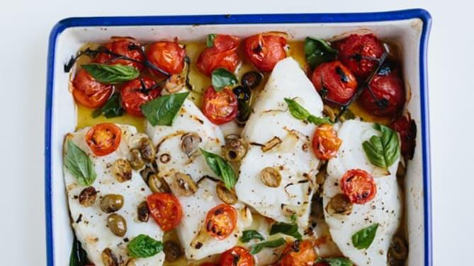 baked sea bass cherry tomatoes mediterranean recipe