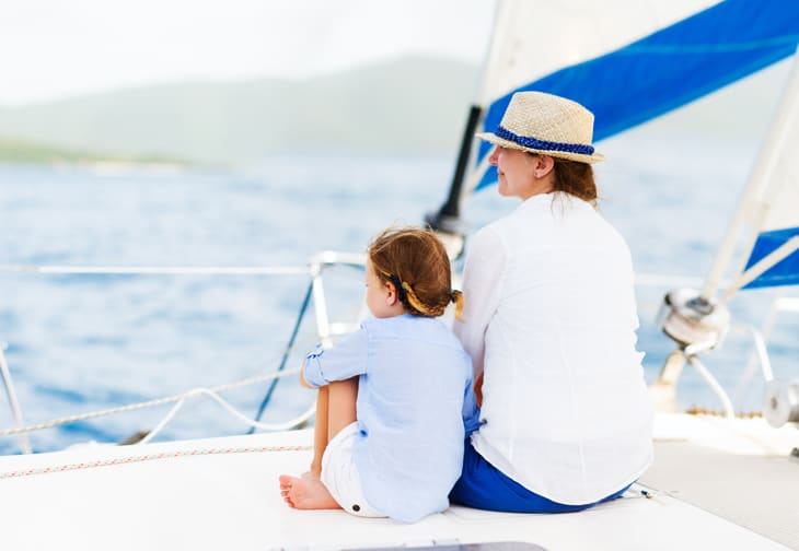 Mother and daughter on a sailing holiday