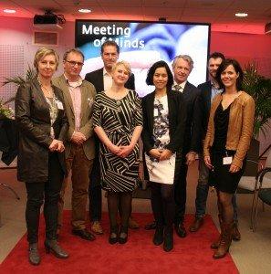 Van links naar rechts, Truus Schuurman, Alex Imholz, Wout Schoevers, Marja Fuchs, Regina The, Leo Jetten, Henne van Egteren, Cindy Hobert