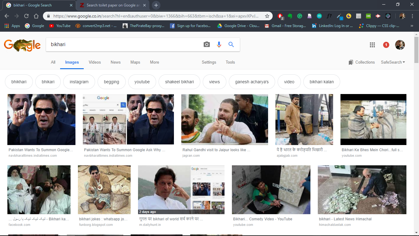 "Guess what comes when you search ""Bikhari"" on Google images :D :\') :\')"