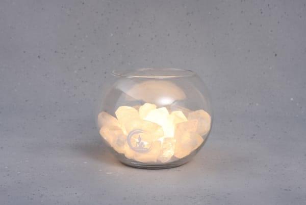 Grote Bergkristal lamp Peace