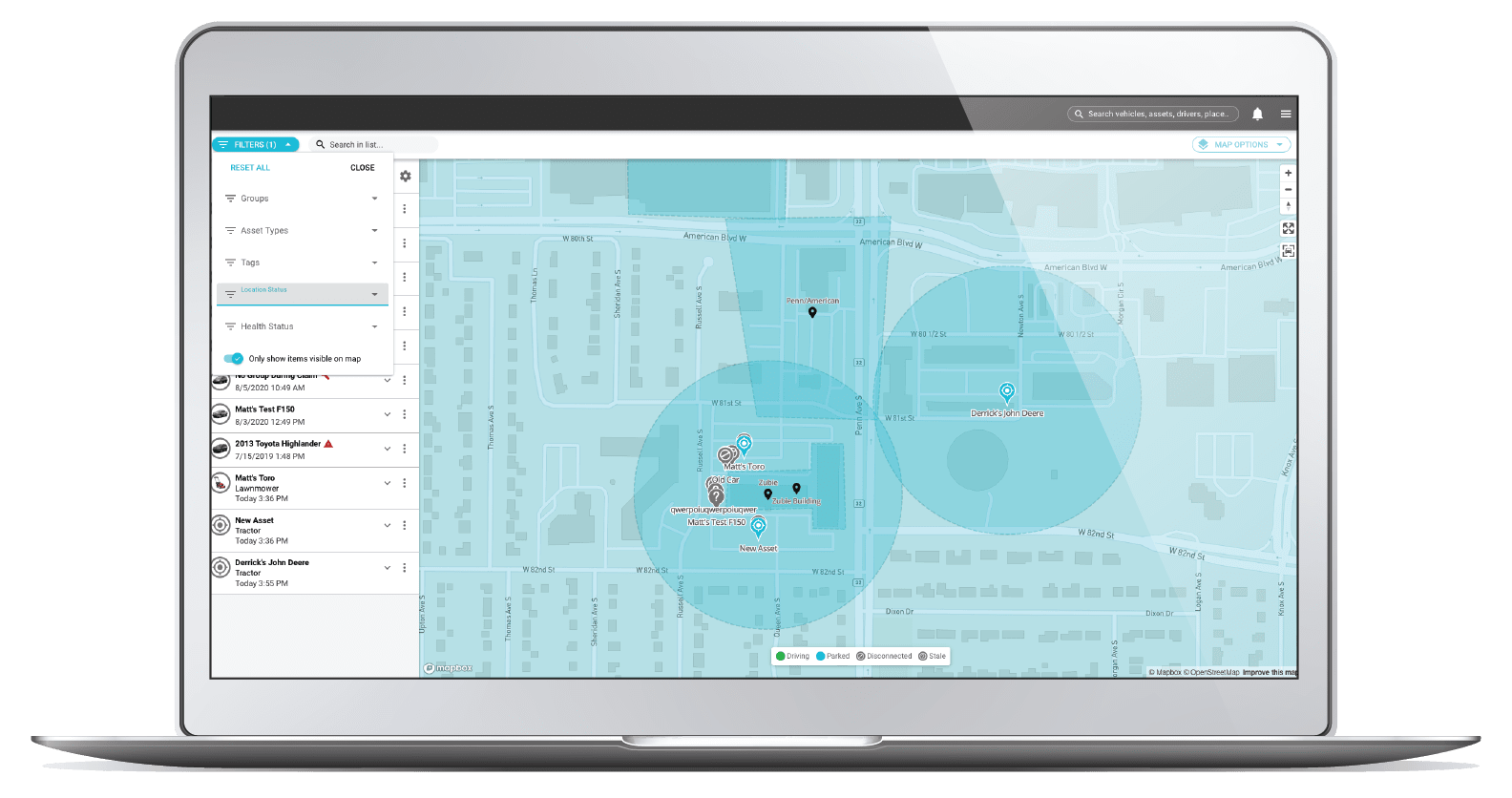 asset trak screen on live map view